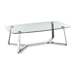 ZUO - Lemon Drop Long Coffee Table - Sinuous chrome legs intersect under the tempered glass top of the Lemon Drop Coffee Table. A nice foil for all those photography tomes. Comes in small and long, sold separately.