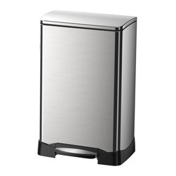"Household Essentials - 40L Neo-Cube Rectangle Step Bin - Trash cans and waste bins of the past look out:  There is a sleek new neighbor in town!  Make way for the 40L Neo-Cube Step Bin a stunning silver rectangular waste bin that makes even the garbage look good.The attractive bin features soft-close: the quiet gentle release of the bin's lid that automatically closes the bin without any help from you so your family's hands stay clean.  When it's time to take out the trash simply lift the protective bin liner out of the shell. The removable shell makes cleaning your waste bin quicker easier and more efficient.  Details:Rectangular 40L stainless binHands-free operationStep pedal open and automatic soft closeBuilt-in bag secure and deodorizer receptacleRemovable bin liner Color: Stainless steel Dimensions:25.6"" x 15.87"" x 13.58""65.04cm x 40.31cm x 34.5cm"