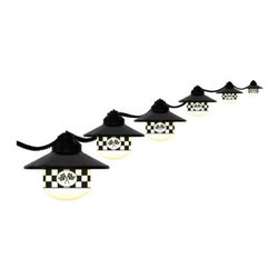 Polymer Products LLC Six Globe String Light Set with Checkered Flag Logos - Blac - On trend and with a clean, modern look, string lights are an easy way to add flair and fun to your outdoor decor. Light up the outdoors with this weather-resistant Polymer Products LLC Six Globe String Light Set with Checkered Flag Logos - Black. It's perfect for decoration or functional lighting. Great for decks, patios, porches, awnings, and recreational vehicles. Includes 20-ft. power cord and hanging hooks for installation. What exactly is polycarbonate lighting? Polycarbonate is resistant to shattering, so it's perfect for outdoor lighting. It's UL/cUL-approved and is a great weather-resistant choice in lighting. Polymer Products proudly make their polycarbonate lighting here in the USA.