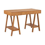 Holly & Martin - Fairbanks Desk - Enrich your work space with this beautiful oak finish desk. Add this contemporary, architectural piece to your home for a perfectly simple workspace.