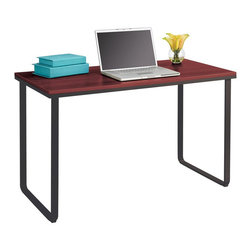 Safco - Safco Steel Workstation in Cherry and Black - Safco - Computer Desks - 1943CYBL - Be simply the best with this Steel Workstation! The simple design and slim profile of this workstation means it's a perfect fit for every workspace, no matter the existing decor. It's steel, U-shaped legs create smooth lines that will make you do a U-turn for another look! To expand on its intrigue, the workstation also features a wood top. The Steel Workstation is the perfect touch to help your work area have a little style without sacrificing function.