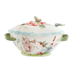 Fitz and Floyd 29-557 Flourish Tureen with Ladle - In the cold of winter, nothing is more satisfying that a hot bowl of soup, especially when served from the Fitz and Floyd 29-557 Flourish Tureen with Ladle. Bring a little springtime to the table any time of year with this happy hummingbird and flower design. Part of the Flourish series, the stem-like ladle, handles, and lid make charming and comfortable accents.About Fitz and FloydFitz and Floyd is recognized worldwide as a leader amongst the style- and quality-conscious. For 50 years, their unique designs have made them the leader in the purveyor of hand-painted ceramic dinnerware, tableware, accessories, giftware, and collectibles. All Fitz and Floyd pieces are easy to spot. Each piece is distinctively hand-crafted by artisans, from the drawing board to the sculpting wheel and kiln.The company's Dallas-based studios are renowned for producing over 500 unique designs per year. Creations range from presidential dinnerware for the White House or a tea service for Her Majesty Queen Elizabeth II, to the perfect centerpiece for your table, and each design is lovingly crafted in the highest quality. Meticulous craftsmanship and exquisite detail make every Fitz and Floyd piece a treasured heirloom-quality gift.