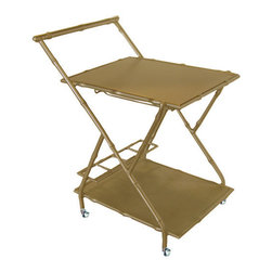 The Double Bar Cart, Gold - This faux bamboo bar cart by Society Social is a perfect addition to the chic home. Highly versatile, it can be used as a bar cart or as a distinctive side table. It is available in gold or silver.