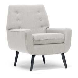"""Wholesale Interiors - Levison Beige Linen Modern Accent Chair - Beautify your home in one simple step with the Levison Designer Accent Chair. This simple, classic living room chair is made in China with a sturdy MDF frame, firm fire retardant foam cushioning, and black birch wood legs with non-marking feet. We recommend the Levison Chair is spot cleaned. Minor assembly is required. Dimensions: 35.75""""W x 31.12""""D x 35""""H, seat dimension: 30""""W x 20""""D x 16""""H."""