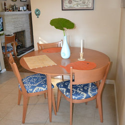 Furniture Reupholstery - This vintage midcentury dining set was reupholstered in a Robert Allen fabric for an upscale surf shack in Somers Point, NJ.