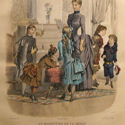 Consigned 1885 Moniteur de la Mode, Parisian Ladies Fashion - A vibrantly detailed, highly coloured chromolithograph from the Parisian subscription publication Le Moniteur de la Mode. Le Moniteur was a conglomeration of three women's fashion publications (La Gazette Rose Illustre, Le Bon Ton and L'Elegance Parisienne Reunis), that was popular during the 1880's and 1890's. Sheet measures approximately 10.25 x 14 inches.