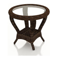 Forever Patio - Leona Wicker Round Patio End Table, Mocha Wicker - The Forever Patio Leona Outdoor Wicker Round End Table with Glass (SKU FP-LEO-RET-MC) complements any of the Leona seating perfectly, making your patio area more functional and stylish. The mocha-colored wicker is UV-protected, and features two tones that give it a more natural, traditional look. Each strand of this outdoor wicker is made from High-Density Polyethylene (HDPE) and is infused with its rich color and UV-inhibitors that prevent cracking, chipping and fading ordinarily caused by sunlight. This patio wicker end table is supported by thick-gauged, powder-coated aluminum frames that make it more durable than natural rattan. This table includes a tempered glass top, adding a touch of elegance. Tempered glass is specifically manufactured to be stronger than conventional glass, making it well suited as a table surface.