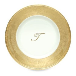 """Jay Import Co. Inc. - Charge It by Jay! 13-Inch Gold Letter """"T"""" Monogram Charger Plates (Set of 6) - Enjoy these gold monogrammed charger plates from Charge It by Jay! Combines the durability of polypropylene with the look of fine china."""