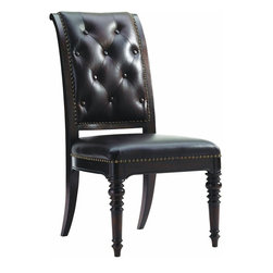 Lexington - Tommy Bahama Home Island Traditions Hastings Upholstered Side Chair - The button-tufted inside back is complimented by a saddle stitched outside back with decorative nail head trim. The carved tapered post designs of the legs compliment the chair's classic design. Available only as shown in Richmond 151541, a rich oxford brown leather with natural range markings.