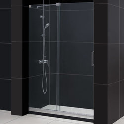 """Dreamline - Mirage Frameless Sliding Shower Door & SlimLine 36"""" x 48"""" Single Threshold Base - This kit pairs a MIRAGE sliding shower door and coordinating SlimLine shower base to completely transform a shower space. The MIRAGE uses innovative hardware to provide the space-saving benefits of a sliding door without compromising the beauty of a completely frameless glass design. A coordinating SlimLine shower base completes the picture with a sleek low profile design. DreamLine shower kits deliver an efficient yet elegant solution with the look of custom glass at an exceptional value."""