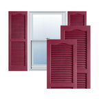 """Alpha Systems LLC - 14"""" x 31"""" Premium Vinyl Open Louver Shutters,w/Screws, Berry Red - Our Builders Choice Vinyl Shutters are the perfect choice for inexpensively updating your home. With a solid wood look, wide color selection, and incomparable performance, exterior vinyl shutters are an ideal way to add beauty and charm to any home exterior. Everything is included with your vinyl shutter shipment. Color matching shutter screws and a beautiful new set of vinyl shutters."""