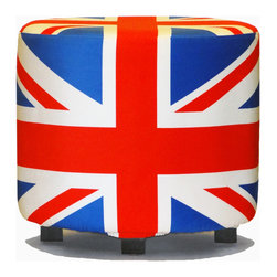 Aroopy - Union Jack Ottoman - Boldly emblazoned with the Union Jack, a flag with an enviably modern-looking geometric design, this ottoman adds a punch of color and contrast to your space and a shout-out of pride for British culture. Also, you can sit on it. The flag is printed onto a removable slipcover that's safe for washing.