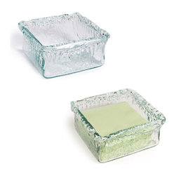 Danya B. - Set of Two Artisan Glass Square Platters - Add artisan texture to your dining table with this set of two recycled glass square platters. These stately containers feature rippled edges and have a slightly green hue for added intrigue. They're perfect for holding appetizers, coasters or napkins.