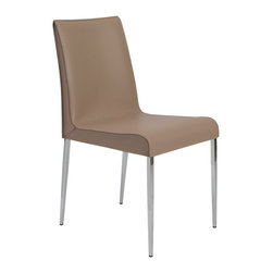 Eurostyle - Eurostyle Cam Side Chair in Tan & Chrome [Set of 2] - Side Chair in Tan & Chrome belongs to Cam Collection by Eurostyle Three variations on a modern classic. The real leather seats and backs offer up a sense of elegant luxury. The chromed steel legs and footrests make them as strong as they are contemporary. Side Chair (2)