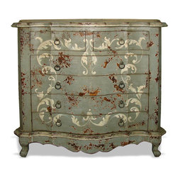 Koenig Collection - Old World Dresser Stuttgart, Grey Distressed With Bone Scrolls - Old World Dresser Stuttgart, Grey Distressed with Bone Scrolls