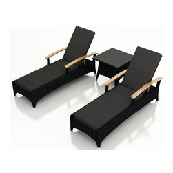 Harmonia Living - Arbor 3 Piece Modern Outdoor Reclining Chaise Lounge Set, Charcoal Cushions - Table for two. Create the perfect escape on your deck or patio with this three-piece set. It includes two reclining chaises and an end table to hold your morning coffee or 5- o'clock cocktail. Each piece is made of high-density polyethylene that weathers the elements beautifully.