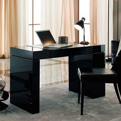 Nightfly Home Office Table By Rossetto - Seductive and alluring,the Nightfly Home Office Table features simple clean lines combined with subtle crocodile print leather detailing. Its complete functionality and true aesthetics capture the essence of Italian design and workmanship.