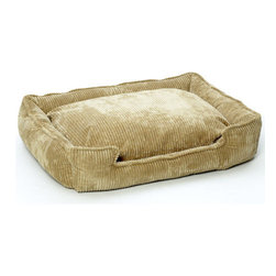 """Jax and Bones - Corduroy Lounge Dog Bed in Honey - Features: -Dog bed. -Corduroy fabric made from a washable blend of cotton and polyester. -Clean and contemporary complement to any room. -Sustainafill allergy-free eco-friendly fiber filling. -Hides shedding hair. -Gets softer and better over time. -Removable and machine washable cover. -Proudly made in the USA. -Honey fabric. -Available in four sizes. Specifications: -Small dimensions: 7"""" H x 18"""" W x 24"""" D. -Medium dimensions: 10"""" H x 27"""" W x 32"""" D. -Medium / large dimensions: 10"""" H x 32"""" W x 39"""" D. -Large dimensions: 12"""" H x 40"""" W x 48"""" D."""