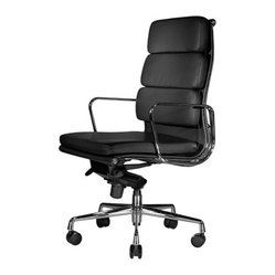 Clyde Highback Chair, Black Leather