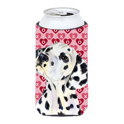 Caroline's Treasures - Dalmatian Hearts Love and Valentine's Day Portrait Tall Boy Koozie Hugger - Dalmatian Hearts Love and Valentine's Day Portrait Tall Boy Koozie Hugger Fits 22 oz. to 24 oz. cans or pint bottles. Great collapsible koozie for Energy Drinks or large Iced Tea beverages. Great to keep track of your beverage and add a bit of flair to a gathering. Match with one of the insulated coolers or coasters for a nice gift pack. Wash the hugger in your dishwasher or clothes washer. Design will not come off.