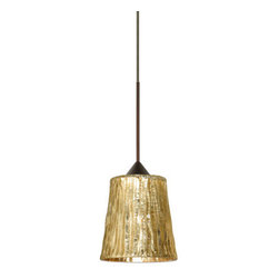 Besa Lighting - Besa Lighting 1XT-5125GF-LED Nico 1 Light LED Cord-Hung Mini Pendant - Nico 4 features a tapered drum shape that fits beautifully in transitional spaces. Our Stone Gold Foil glass is a clear blown glass with an outer texture of coarse sandstone, with distressed metal foil hand applied to the inside. Inspired by the elements of nature, the appearance of the surface resembles the beautiful cut patterning of a rock formation. This blown glass is handcrafted by a skilled artisan, utilizing century-old techniques passed down from generation to generation. Each piece of this decor has its own artistic nature that can be individually appreciated. The 12V cord pendant fixture is equipped with a 10' braided coaxial cord with teflon jacket and a low profile flat monopoint canopy.Features: