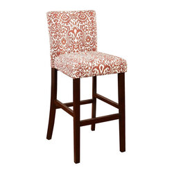 Linon Home Decor - Linon Home Decor Morocco Bar Stool Lava X-U10VAL6220 - The Lava Morocco Stool is a trendy, new-age seating solution for a counter, bar or table. The stool has a modern ikat design that is perfect for adding a splash of pattern and color to your space. The straight lined, smooth legs are finished in a rich Manhattan Stain. Some Assembly Required. 275 pound weight limit.