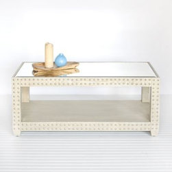 Ricardo Coffee Table Limed Oak Wood by Worlds Away - Lucy, Bring Me Home! The Ricardo coffee table adds upholstery nail detailing and a glamorous mirrored top to beautifully limed oak wood.  The shelf below is a great spot to store your coffee table books.