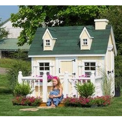 DIY 4 x 6 Cape Cod Inspired Children's Playhouse - Here's a budget-friendly wooden playhouse.