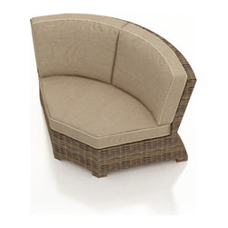 Forever Patio - Cypress Outdoor Sectional 45 Degree Corner, Spectrum Mushroom Cushions - The Forever Patio Cypress Rattan Outdoor Sectional 45 Degree Corner with Beige Sunbrella cushions (SKU FP-CYP-45C-HR-SM) lets you expand your Cypress Sectional with a roomier seat than traditional sectional corners. The heather-colored resin wicker is UV-protected, and features subtly muddled tones for a varied, natural look. Each strand of this outdoor wicker is made from High-Density Polyethylene (HDPE) and is infused with its rich color and UV-inhibitors that prevent cracking, chipping and fading ordinarily aused by sunlight. This outdoor sectional piece is supported by thick-gauged, powder-coated aluminum frames that make it more durable than natural rattan. This sectional piece includes fade- and mildew-resistant Sunbrella cushionsfor added comfort in your outdoor space.