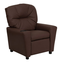 Flash Furniture - Flash Furniture Contemporary Brown Leather Kids Recliner with Cup Holder - Kids will now be able to enjoy the comfort that adults experience with a comfortable recliner that was made just for them! This chair features a strong wood frame with soft foam and then enveloped in durable leather upholstery for your active child. Choose from an array of colors that will best suit your child's personality or bedroom. This petite sized recliner will not disappoint with the added cup holder feature in the armrest that is sure to make your child feel like a big kid! [BT-7950-KID-BRN-LEA-GG]