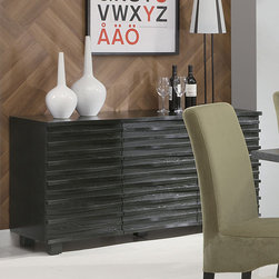 Coaster - Stanton Collection Black Server - The Stanton collection will give your contemporary casual dining and entertainment room a bold update. With this unique wave design and different chair options, you can mix and match to create the perfect look for your home. Made from Ash veneers and finished in a rich black. Matching server features ample storage with cabinets and shelving.