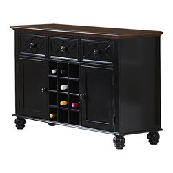 Homelegance - Homelegance Sanibel Server with Wine Storage in Black and Warm Cherry - As breezy as a day at the beach, the modern cottage styling of the Sanibel collection will meld effortlessly with your casual personal style. The versatility of the design lends to the perfect placement in your casual dining room. The collection is offered in black or white _ each featuring a warm cherry finished tabletop and chair seats.