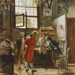The Inventor's Laboratory 16 x 12.121 Art Print On Canvas - The Inventor's Laboratory by Pietro Gabrini Size: 16 x 12.121 Art Print Poster. Canvas Transfer stretched and canvas museum wrap. Comes ready to hang. Canvas board is an off white color.