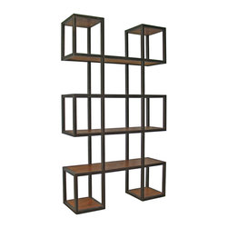 Kathy Kuo Home - Harrogate Block Metal Wood Industrial Loft Bookcase - A clever combination of blocks, rectangles and open shelves gives the Harrogate bookcase its centerpiece status. Made from reclaimed pine treated with a natural wax finish and a rugged welded steel frame this loft-worthy display case stands just over 6 feet tall - ideal as a partition in open spaces or as a dramatic wall unit in the dining room or study.