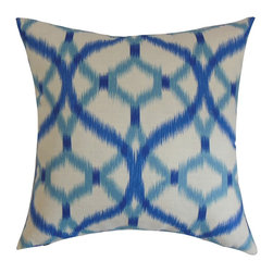 "The Pillow Collection - Wasior Geometric Pillow Blue 18"" x 18"" - This eclectic decor pillow is a wonderful addition to your collection. This accent pillow comes with a unique geometric pattern with a vibrant blue shade against a white background. This square pillow will turn your interiors from boring to electrifying. You can easily combine this 18"" pillow with solids and other patterns. This throw pillow is made from 100% plush cotton fabric. Hidden zipper closure for easy cover removal.  Knife edge finish on all four sides.  Reversible pillow with the same fabric on the back side.  Spot cleaning suggested."