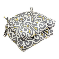 Pillow Perfect Gray/Greenish-Yellow Damask Reversible Chair Pad - Don't have the cash to buy new chairs? Update the padding with these yellow and gray reversible cushions.
