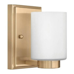 Hinkley - Hinkley 5050BC Miley 1 Light Bathroom Fixture in Brushed Caramel 5050BC - 1 Light Bathroom Fixture.With white etched glass, cast stepped back plate and cast glass holders G9 Halogen Bulb (included)Back Plate Height: 6-1 2 Back Plate Width: 4-1 2 Bulb Type: Halogen Certification: c-UL-us Damp Collection: Miley Energy Star Compliant: No Extension: 5-1 4 Finish: Brushed Caramel Glass: Etched Opal Glass Height: 6-1 2 Light Direction: Up Lighting Max Wattage: 60 Number of Lights: 1 Shade Shape: Cylinder Socket 1 Base: G-9 Socket 1 Max Wattage: 60 Style: Contemporary Modern Suggested Room Fit: Bathroom, Bedroom TTO: 3-1 4 Voltage: 120 Weight: 3 Width: 4-1 2
