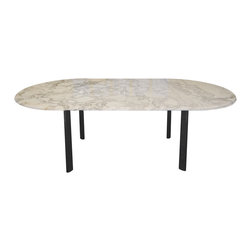 Knoll - Consigned Knoll Vintage Dining Table - Since 1938, Knoll has been designing and producing modern furnishings that not only withstand the test of time and trends -- they become heirlooms. This vintage table features a marble top and a chrome base designed by Joe D'Urso. It seats up to six guests.