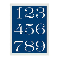 Indigo Numbers Framed Print - This sign adds a happy graphic punch to a child's room or mudroom.