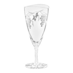 Qualia - Orchard Iced Tea Glasses, Set of 4 - Create a bold, polished look in your kitchen using the Orchard Iced Tea Glasses. The wide shape and short stems make the glasses perfect for drinking iced tea, lemonade or seltzer beverages. Featuring a wavy, uneven rim and white etchings of grape clusters and vines, these glasses are detailed without being overwhelming. Holds 16 ounces of liquid. Dishwasher safe.
