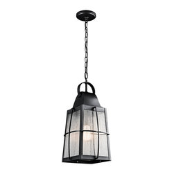 """Kichler - Contemporary Kichler Tolerand 19 3/4"""" High Black Outdoor Pendant - Textured outdoor hanging pendant light. Textured black finish. Metal and glass construction. Clear seeded glass shade. Maximum 150 watt or equivalent bulb (not included). Great for patios entryways and covered garages. 19 3/4"""" high. 9 1/2"""" wide. Canopy is 5"""" square.   Textured outdoor hanging pendant light.  Textured black finish.  Metal and glass construction.  Clear seeded glass shade.  Maximum 150 watt or equivalent bulb (not included).  Great for patios entryways and covered garages.  19 3/4"""" high.  9 1/2"""" wide.  Canopy is 5"""" square."""