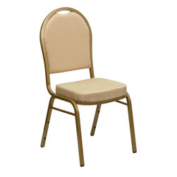 Flash Furniture - Hercules Series Dome Back Stacking Banquet Chair with Beige Patterned Fabric - This is one tough chair that will withstand the rigors of time. With a frame that will hold in excess of 500 lbs., the Hercules Series Banquet Chair is one of the strongest banquet chairs on the market. You can make use of banquet chairs for many kinds of occasions. This banquet chair can be used in Church, Banquet Halls, Wedding Ceremonies, Training Rooms, Conference Meetings, Hotels, Conventions, Schools and any other gathering for practical seating arrangements. The banquet chair is also great for home usage from small to large gatherings. For any environment that you use a banquet chair it will put your guests at a greater comfort level with the padded seat and back. Another advantage is the stacking capability that allows you to move the chairs out of the way when not in use. With offerings of comfort and durability, you can be assured that you can enjoy this elegant stacking banquet chair for years to come.