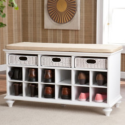 Upton Home - Upton Home Kelly White Entryway Bench - Add functionality to the your home with this white entryway bench with storage. It offers three drawers and 12 spaces to store shoes and other necessities. The padded bench provides comfortable seating,and the bench cover can be removed and washed.