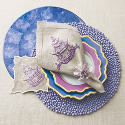 Hydrangea Rock Candy Table Setting - This extraordinary table setting by Kim Seybert is filled with rich purples and blues.