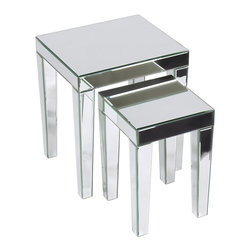 Office Star Products - Ave Six Reflections 2-piece Nesting Table Set - Give your home a new look with this contemporary table set with Attractive Mirrored Finish. This set includes a large table and a smaller nesting table for convenience.