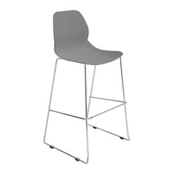 "Lumisource - Droplet Barstool, Grey - 22"" L x 21"" W x 43.75"" H"
