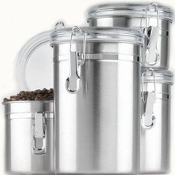 Anchor Hocking - 4pc SS Canister Set Clear Lids - Anchor Hocking 24954 4-Piece Stainless Clamp Canister Set w/ Clear Lid  Window Box allows you to see when you need to re-stock - Set includes 37oz.  38oz.  47oz.  63oz. Round Clamp Top Canisters - Air-tight seal  This item cannot be shipped to APO/FPO addresses. Please accept our apologies.