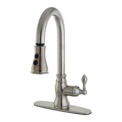 """Kingston Brass - Gourmetier American Classic Single Handle Faucet with Pull Down Spout, Satin Nic - The American Classic pull-down faucet features a gooseneck-shaped spout which hangs over the sink built for easy washing. The long coil covering part of the sprayer is connected to the neckpiece for support. The chrome-plated finish adds long-lasting protection as well as a sleek flashy-looking decor for your kitchen.; Fabricated from solid brass material for durability and reliability; Drip free ceramic cartridge; Standard 3/8"""" IPS Female connection; Single hole installation with deck plate; With 2 function Stream flow and Jet spray pull down Spray; Material: Brass; Finish: Satin Nickel; Collection: AMERICAN CLASSIC"""