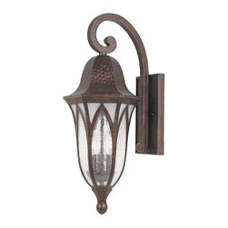 "Designers Fountain - Country - Cottage Berkshire Collection 23"" High Outdoor Wall Light - The Berkshire Collection of exterior lighting offers handsome styling. Featuring a boldly scrolled cast arm vaulted arch style glass panels and a distressed hammered finish. This outdoor wall light features a burnished antique copper painted finish and clear and frosted seedy glass. Illuminate your outdoor spaces with this distinctive fixture. Burnished antique copper painted finish. Clear and frosted seedy glass. Takes three 60 watt candelabra bulbs (not included). 23"" high. 9"" wide. Extends 11 1/2"" from the wall.  Burnished antique copper painted finish.   Clear and frosted seedy glass.   Takes three 60 watt candelabra bulbs (not included).   23"" high.   9"" wide.   Extends 11 1/2"" from the wall."