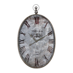 Uttermost - Argento Antique Wall Clock - This clock will add character to your walls big time. It's shaped to resemble a pocket watch with a brushed aluminum face and touches of rust distressing to give it a timeworn look.